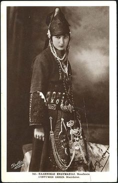 MacedoniaGreece Macedonian female costume is one of the heaviest. You can also see the traditional helmet that looks like. Greek Dancing, Kai, Greek Dress, Macedonia Greece, Old Greek, Greek History, Greek Culture, Ethnic Dress, Costumes For Women