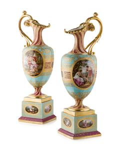 PAIR OF VIENNA PORCELAIN EWERS ON STANDS 19TH CENTURY