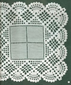 Ravelry: Filetstueck's Handkerchief / hanky in filet-crochet with scalloped edge Crochet Placemats, Crochet Quilt, Crochet Doily Patterns, Crochet Borders, Filet Crochet, Crochet Motif, Crochet Doilies, Crochet Flowers, Crochet Lace