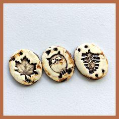 Ceramic 4 Hole Bracelet Charms, Stoneware Link Components, Leaf and Owl Bracelet Links, Handmade Ceramic Jewelry Components, Artisan Jewelry by LemonIslandTreasures on Etsy