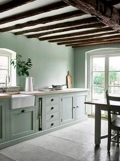 Henley kitchen by Neptune hand painted in sage https://www.neptune.com/home-accessories/decorative/ornaments/jars-pots/corinium-jug-vase-large/