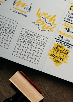 Creatiate rubber stamps: goal/habit tracker and perpetual calendar stamp How To Bullet Journal, Bullet Journal Layout, Bullet Journal Inspiration, Bullet Journals, Journal Ideas, Bujo, Journal Organization, Love Stamps, Goals Planner
