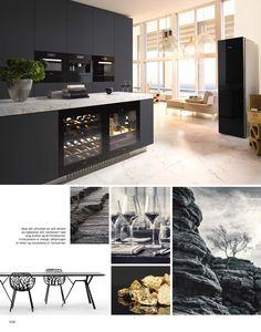 arredamento per cucine moderne con isola nere in un open space con ...