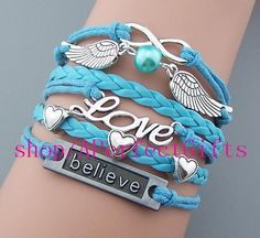 http://www.beautifulseasondiy.com/ Angel wings bracelet infinity,3 tiny heart,love,believe jewelry,leather light blue rope color adjustable,faith bracelet Graduation gift by APerfectGifts on Etsy, $6.99