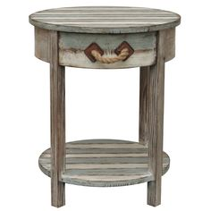 "22"" DISTRESSED WEATHERED WOOD ACCENT SIDE END TABLE RUSTIC OCEAN BEACH DECOR #RusticPrimitive"
