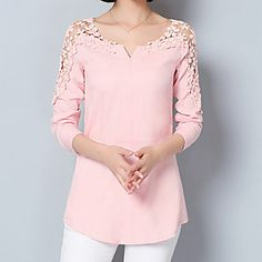 Women's Going out Formal Work Sexy Street chic Sophisticated All Seasons Spring Shirt,Solid Asymmetrical Long Sleeve Blue Pink White Green 5569150 2017 – Street Chic, Street Style, Mode Outfits, Fashion Outfits, Formal Blouses, Blouses 2017, Cheap Womens Tops, Top Streetwear, Lace Outfit