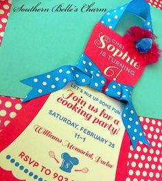 Cooking/Baking InvitationsSet of 10 by southernbellescharm on Etsy, $57.50