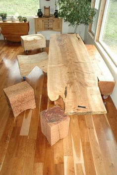 Dumonds Custom Furniture- solid slab wood love the bench and stools