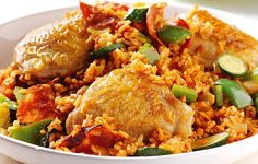 Chicken and rice are prepared with bell peppers and chorizo sausage for a real Cajun delight!