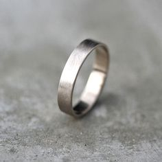 Mens Gold Wedding Band Unisex 4mm Brushed Flat 14k by TheSlyFox