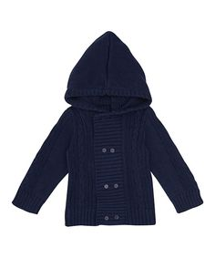 Another great find on #zulily! Navy Cable-Knit Hooded Cardigan - Infant, Toddler & Boys by JoJo Maman Bébé #zulilyfinds