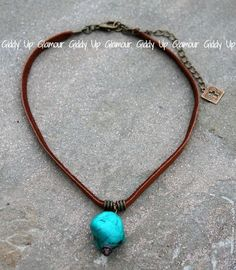 Pink Panache Tan Leather Choker with Large Turquoise Stone