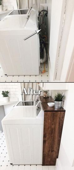 home renovation on a budget - home renovation ; home renovation on a budget ; home renovation before and after ; home renovation ideas ; home renovation diy ; home renovation o Laundry Room Remodel, Laundry In Bathroom, Laundry Decor, Small Laundry, Laundry Area, Laundry Closet, Washroom, Kitchen Remodel, Basement Laundry