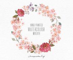 Watercolor wreath: 1 PNG floral clip art / Wedding invitation clip art / commercial use / crimson blossom / CM0063c