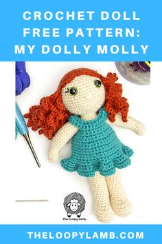 Crochet along with us as we use this free amigurumi doll pattern to make My Dolly Molly. This adorable crochet doll has a removeable dress that fastens in the back. The pattern is accompanied by step-by-step video tutorials. #crochetdollfreepattern #crochetdollwithremoveableclothes #amigurumidollfreepattern #freecrochetpattern #crochetdollclothes Crochet Baby Toys, Crochet Kids Hats, Crochet Doll Clothes, Crochet Yarn, Free Crochet, Crocheted Animals, Knitting Yarn, Crochet Dolls Free Patterns, Crochet Doll Pattern