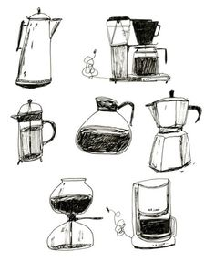 """""""How do I love thee, let me count the ways"""" Coffee Maker - French press - Espresso - Illustration Print. I Love Coffee, Coffee Art, Coffee Cups, Coffee Maker, Drawing Coffee, Coffee Painting, Black Coffee, Art And Illustration, Food Illustrations"""