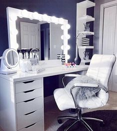 Elevate your space with one of our pro size mirrors! This gorgeous Studio Pro ra… Elevate your space with one of our pro size mirrors! This gorgeous Studio Pro radiates glamour ✨ ⠀ 📷: Elvi Casta Bedroom Makeup Vanity, Vanity Room, Makeup Room Decor, Ikea Vanity, Vanity Set, Vanity Chairs, Vanity Drawers, Makeup Vanities, Room Ideas Bedroom