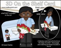 3D On The Shelf Card Kit - Ethnic Man Dequain Has A Letter & Roses For Mum