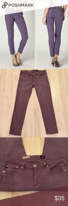 "AG The Stevie Ankle Jeans in Plum Size 29x28 First photo is a stock photo and is for style options and fit only.  Does not depict color exactly.  Color is more of a faded plum.  Super cute!  Excellent condition with only mild signs of wash and wear.  No stains, holes, etc.  waist measures approx 15"" straight across.  Rise measures approx 8"".  Inseam measures approx 28"".  Fabric: 55% cotton, 42% Tencel, 3% PU. AG Adriano Goldschmied Jeans Ankle & Cropped"