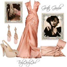 Greta Garbo was a famous pin up girl and actress who may have starred in a romantic thriller wearing this pretty pink evening gown and accessories...