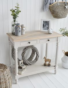 The white lighthouse brittany console hall table from the white lighthouse country, coastal and new Large Hallway Furniture, Hallway Table Decor, Grey Furniture, Living Room Furniture, Living Room Decor, Console Furniture, Gray Console Table, Grey Table, White Table Lamp