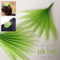 Make & Wear Palm Fronds  Palm Fronds are really beautiful I think. The fact that they look just like accordion folded paper makes me want to make some! Also this is a great time of year to accessorize with a little green with Saint Patrick's Day, the spring equinox, and Easter. Of course this would be perfect for Palm Sunday (April 13th) too! You can use any kind of green paper you have. I used kite paper which is about the size of origami paper but translucent like tissue paper with a…