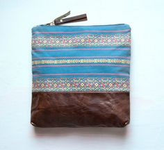 L E A T H E R Clutch Large Make Up Bag by GiftShopBrooklyn on Etsy