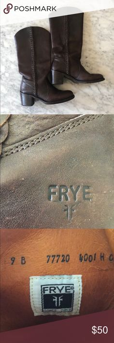 Frye Boots - Sabrina Braid Size 8. Dark brown Sabrina Braid Frye boots. Worn a handful of times but in excellent condition. A few very small nicks on the leather. Price reflects used condition. I also just need room in my closet! Frye Shoes Heeled Boots