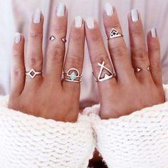 Rotita Geometric Shape Silver Metal Rings Set