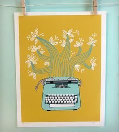 Typewriter Print - Mustard and Blue by Jenny Tiffany on Scoutmob Shoppe