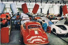 Porsche 356 at the factory Porsche 356 Speedster, Porsche 930, Porsche Cars, Vintage Sports Cars, Vintage Cars, My Dream Car, Dream Cars, Porsche Factory, Porsche Models