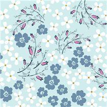 Tissu bleu clair avec des fleurs blanches et bleues-grises par Henry Glass