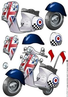 Mod Squad Scooter Moped Decoupage Sheet on Craftsuprint designed by Gordon… Paper Toys, Paper Crafts, Image 3d, Decoupage Printables, 3d Sheets, Free Printable Cards, Picture Postcards, 3d Cards, Fathers Day Cards