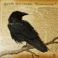 Raven painting on vintage textbook pages. ©Julie Miller/Haggis Vitae Studios