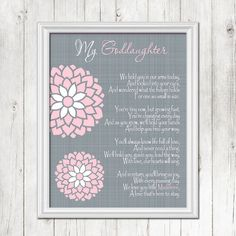GODDAUGHTER Baptism Wall Art Christening by BlendedCreationsInc