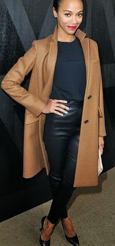 Zoe Saldana // basics // black on black // leather // camel boyfriend coat // red lipstick // simple