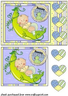 New baby boy peapod rectangle card front 2 on Craftsuprint designed by Sharon Poore - New baby boy peapod rectangle card front with decoupage - Now available for download!