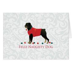 Rottweiler Feliz Naughty Dog Christmas Design Card