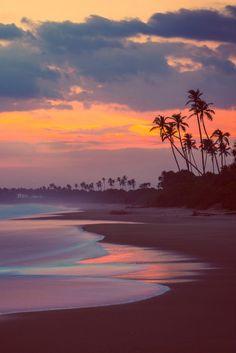 Tangalle Beach sunset, Sri Lanka, by Charly Lataste. Love this mellow sunset scene. Strand Wallpaper, Beach Wallpaper, Tree Wallpaper, Beautiful Sunset, Beautiful Beaches, Beautiful World, The Beach, Sunset Beach, Beach Sunsets