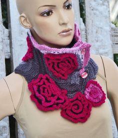 Crochet  Scarf  Roses- Capelet / Neck Warmer / Freeform crochet PInk,White, Grey Womens scarf, Freeform Crochet scarf/gift