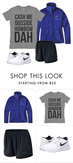 """gym later."" by mallory-d ❤ liked on Polyvore featuring Patagonia and NIKE"
