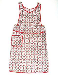 Vintage 1940s Red Kitchen Full Apron Retro by NonabelleVintage