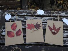 Three natural brown paper gift bags by LilyPadsAndSunshine on Etsy