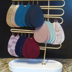 Such a stunning leather earring collection from @chriscampbell00! Love the mix of pretty neutrals and rich colors. #nickelandsuedestyle #nickelandsuede #leatherearrings #lightweightearrings