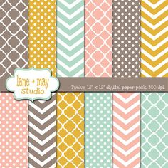 coral pink mint green mustard yellow and brown digital scrapbook paper patterns by laneandmay
