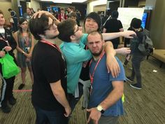 Max (in the left corner, LuL), Skydoesminecraft (Adam), House_Owner (Ross), JinBop (Jin), and ThatGuyBarney (John) at PAX. =D