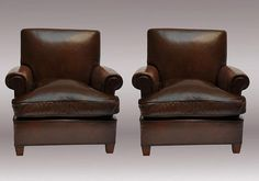 Pair of Jansen Club Chairs in Original Brown Leather