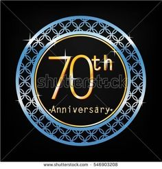 black background and blue circle 70th anniversary for business and various event
