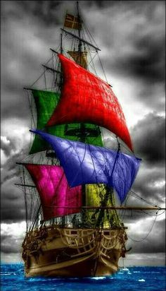 Color Splash, Color Pop, Bateau Pirate, Old Sailing Ships, Black Sails, Tall Ships, Pirates Of The Caribbean, Ship Art, Scenery