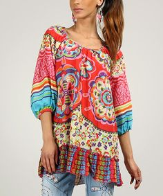 Take a look at the Peace and Love Red & Pink Cotton Abstract Tunic on #zulily today!